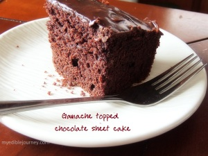 Ganache Topped Chocolate Sheet Cake from myediblejourney.com