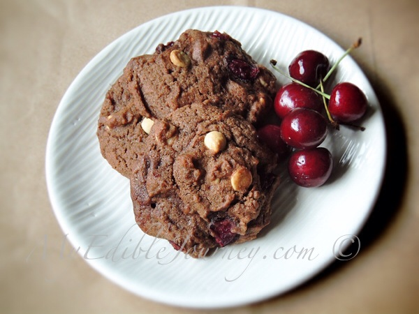 Double Chocolate Cherry Chip Cookies |My Edible Journey