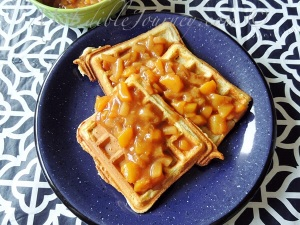 Waffles with Spiced Peach Sauce | My Edible Journey