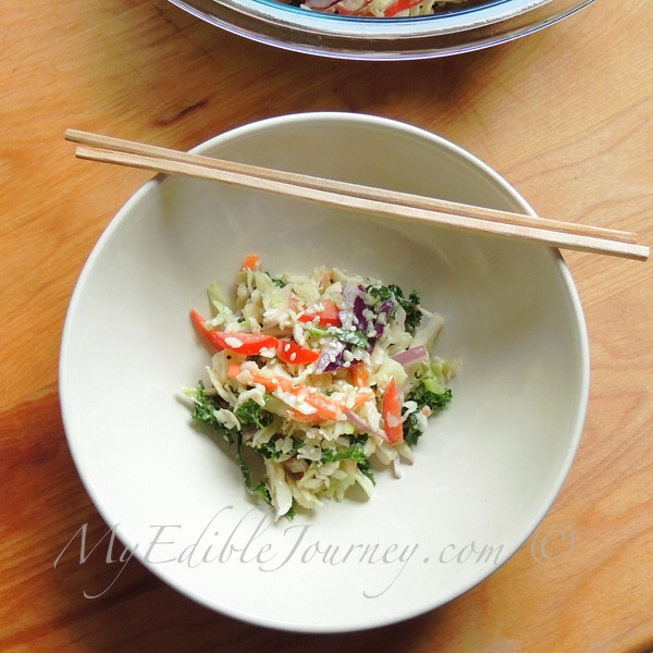 Coleslaw with Miso Dressing |My Edible Journey