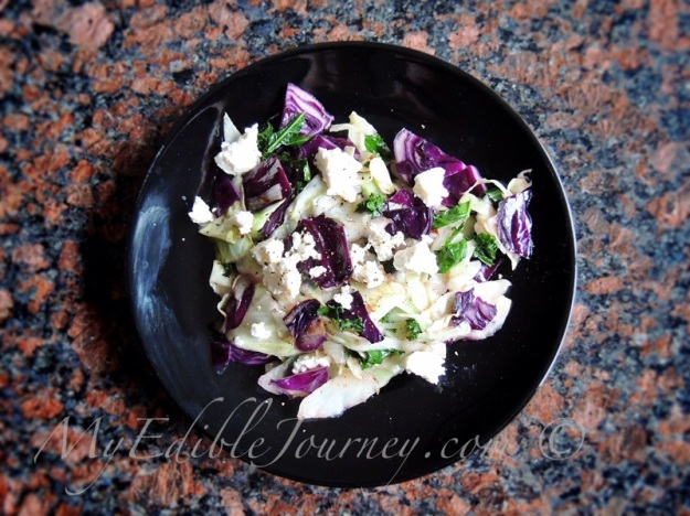 Cabbage and Kale with Honey and Feta | My Edible Journey