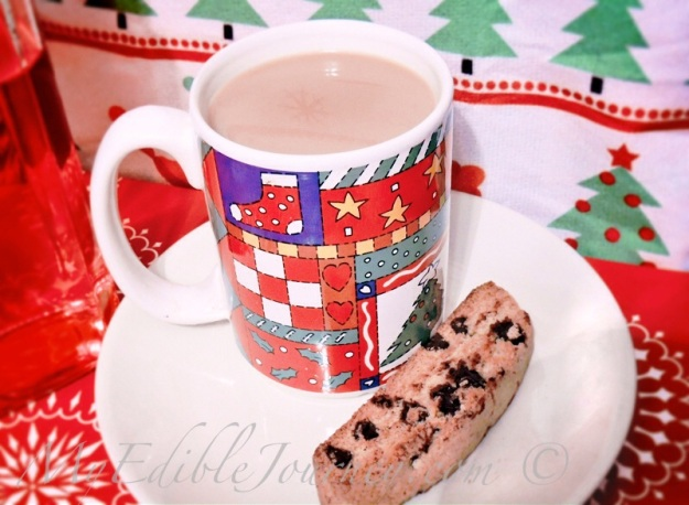 Brown Butter Chocolate Chip Biscotti with Candy Cane Coffee |My Edible Journey