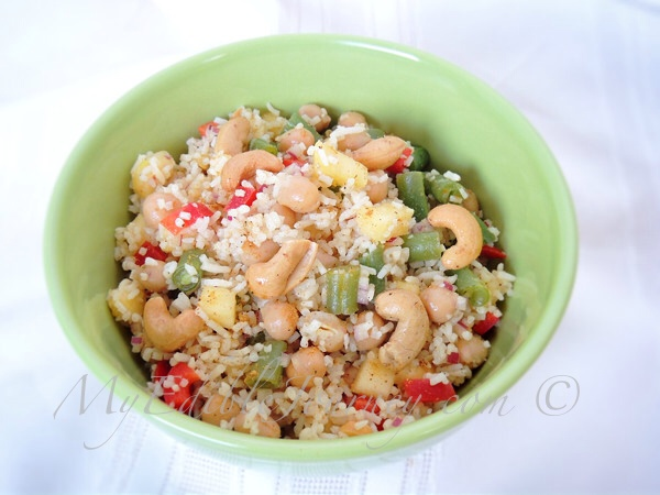 Rice Salad with Curried Chickpeas Pineapple and Cashews | My Edible Journey