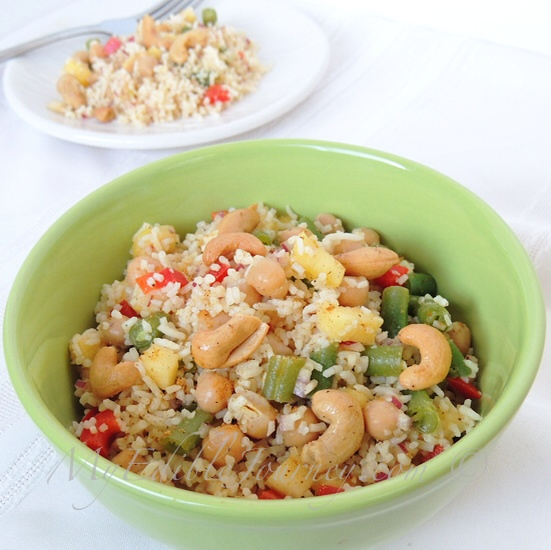 Rice Salad with Curried Chickpeas Pineapple and Cashewse | My Edible Journey