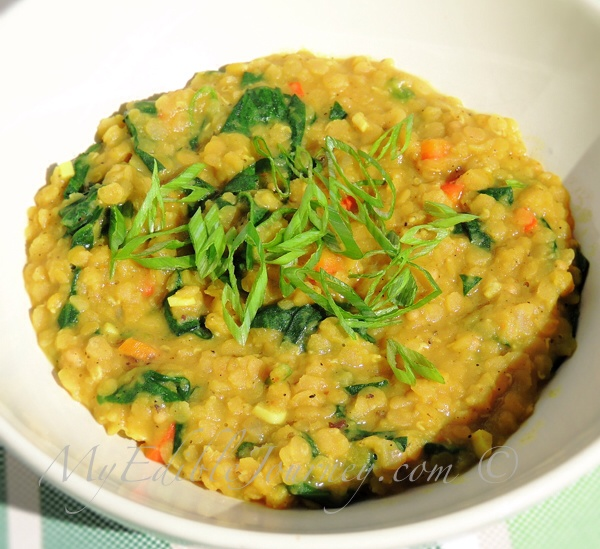 Spinach and Red Lentil Dhal| My Edible Journey