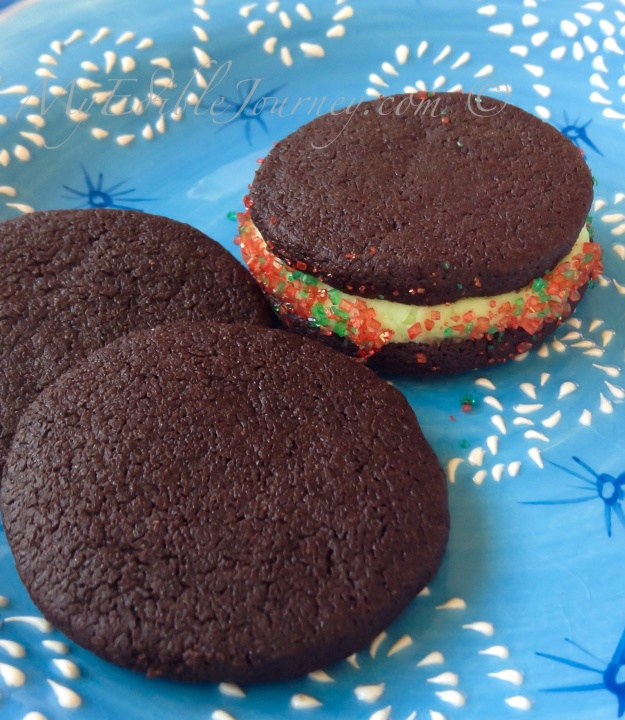 Chocolate mint sandwich cookies | My Edible Journey