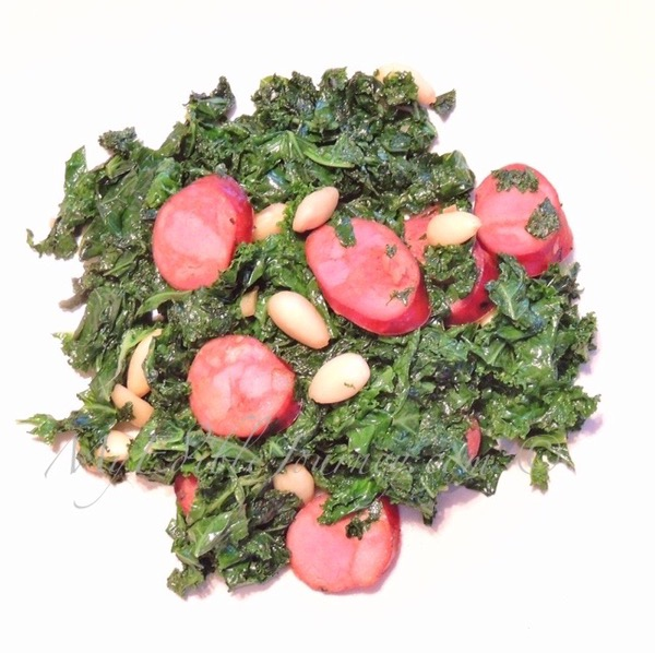 Kale with Chorizo and Almonds | My Edible Journey